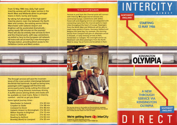 1986 Intercity Direct leaflet front